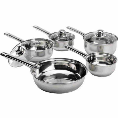 5 Piece Stainless Steel Saucepan Set Vented Glass Lids